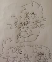 bardock and his loving parents vegeta and goku by Ashartz123