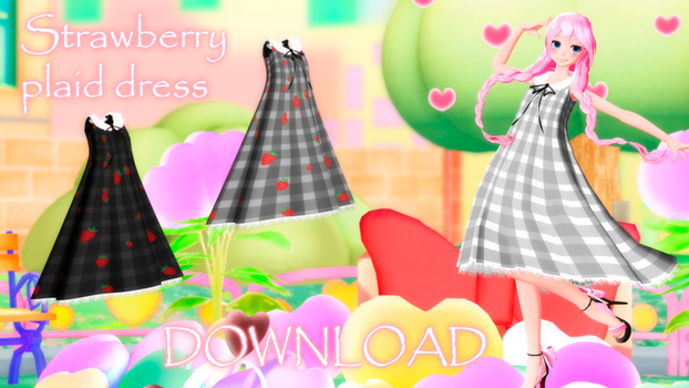 DL : Strawberry plaid dress - download for MMD by HoshichoM