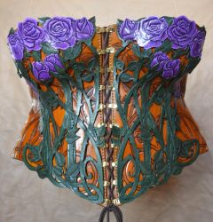 Purple Rose Leather Corset by SavagePunkStudio