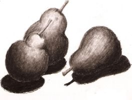 Charcoal Practice: Pears by DemonShadowz