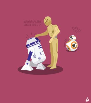 R2D2 C3PO BB8 Droids minimalist Flat design by Loweak