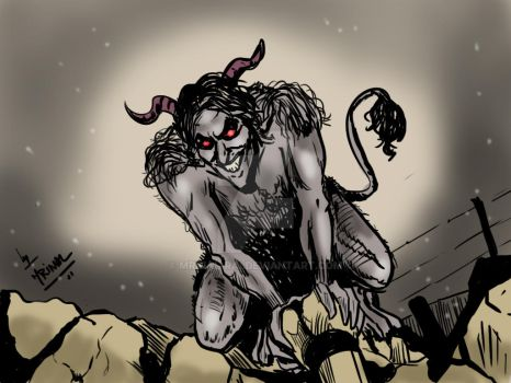Krampus drawn as part of Daily sketch challenge by mrinal-rai