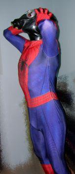 Spiderman with gasmask+rubber hood 3 by rubbermask