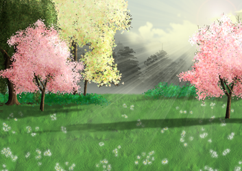 Free Spring Meadow Background by SweetLittleVampire
