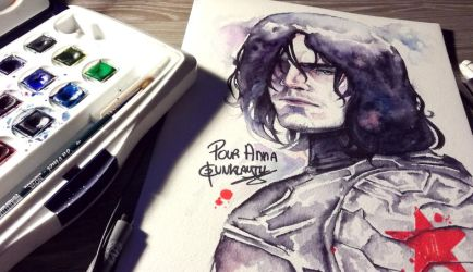 Bucky Barnes - WATERCOLOR by Dunklayth