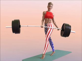 Eva does one-armed heavy-barbell curls: .gif 1 by DahriAlGhul