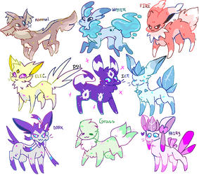 eeveelution type swap adoptables (CLOSED) by karmicon