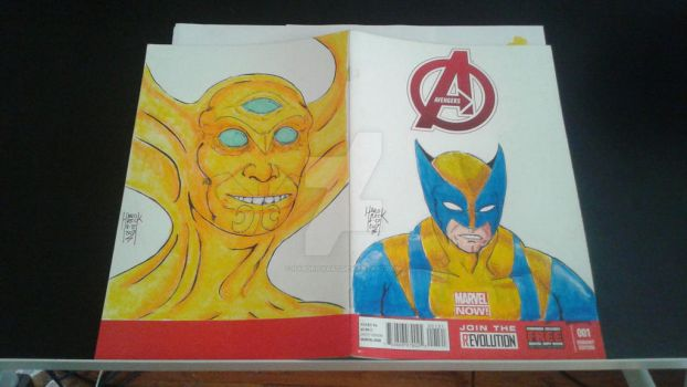The Avenger sketch cover Back and Front ! by HARDRICKART