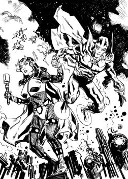 Big Barda and Mister Miracle by deankotz