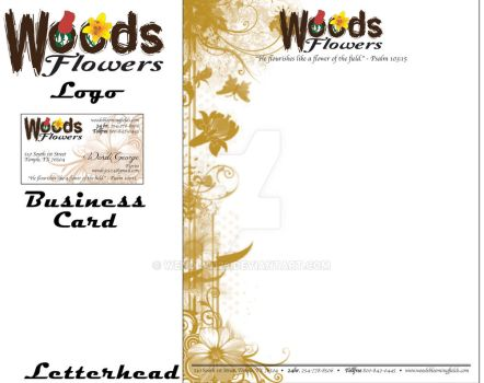 Woods Flowers Logo, Business Card, Letterhead by KriticKilled