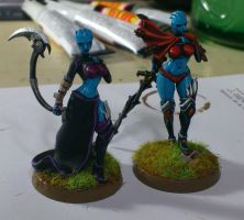 Some Asari miniature conversions for Warhammer 40K by Danhte