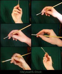 Hand Pose Stock - Holding Paintbrush by Melyssah6-Stock