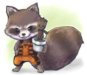:GOG: Rocket and baby Groot by PrinceOfRedroses