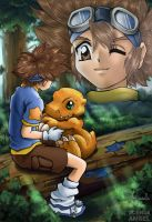 Taichi and Agumon - Collaboration with Hisui by SchneeAmsel