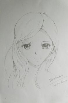 Drawing : Girl and her hair with the wind by smallkank
