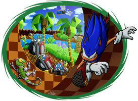Sonic in Green Hill by The-Quill-Warrior