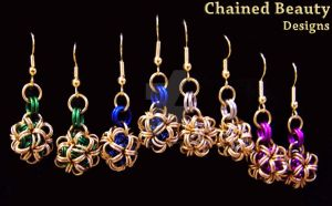 Japanese Ball Earrings in Colors by ChainedBeauty