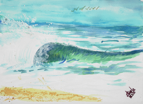 Wave watercolor study by SulaimanDoodle