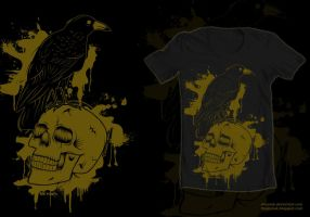 Skull crow t-shirt by ElAsmek