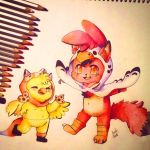 Fox and chick! ::Gift:: [Foxica/fnaf] by Aunty-chick