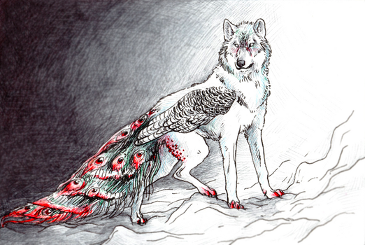Wolf Peacock by TheNeverEndingPit