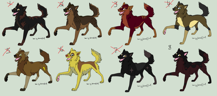 8 Adoptable Wolves by Bitten2007