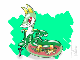 SnivyPootis's Serperior Vore request.(transparent) by RawNoodlesx3