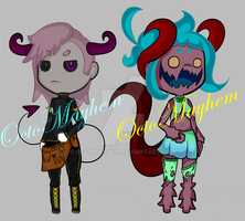 Adoptable Set #3 Demon Boy and Monstur Girl -END- by OctoMayhem