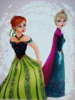 Princess Anna and Queen Elsa by Blossom525