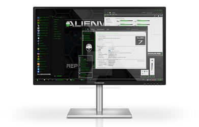 Alienware HQ GREEN Windows 7 Theme by Designfjotten