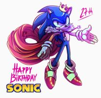 Happy 27th Birthday, Sonic the hedgehog by ClassicMariposAzul