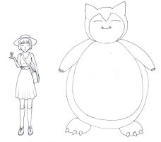 Snorlax and his trainer by frolka
