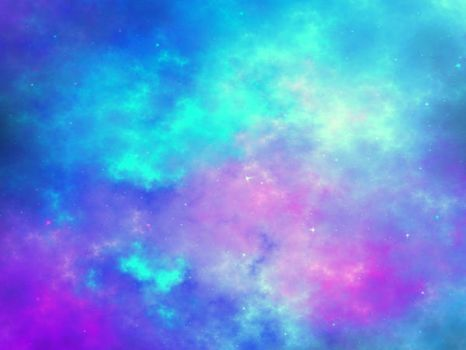 Fractal nebula or galaxy with stars by KeilaNeokow