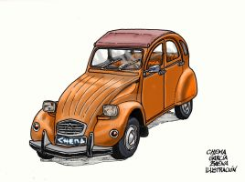 Orange Citroen 2CV by ChemaIllustration