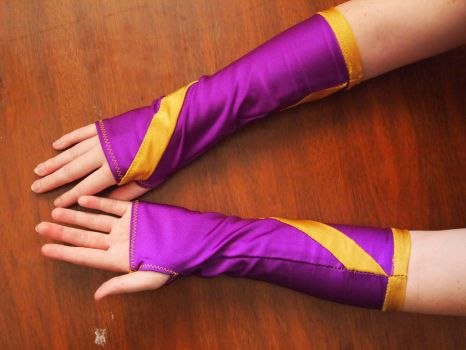 Purple and gold spandex armwarmers by WhimsicalSquidCo
