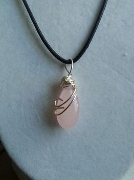 Pink stone wire wrapped small 20mm by ScoopGirl