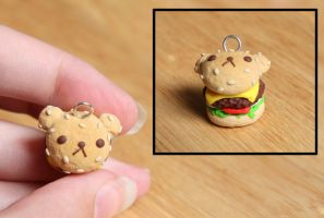 Rilakkuma Bear Burger Clay Charm by xoxRufus