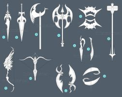 [closed large mixed weapon sheet by IdunaHayaDesigns