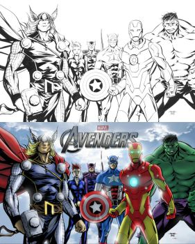 AVENGERS ASSEMBLE !!! Lines and Colors ! by Andre-VAZ