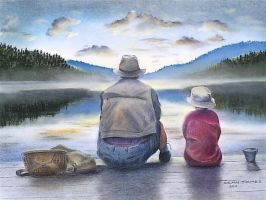 Father and son fishing by DIXIEDEAN