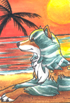 This Beach of Mine - ACEO Trade by PoonieFox