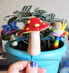 Large mushroom garden plant stake by HollieBollie