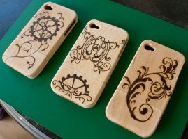 Steampunk Wood Phone Cases WIP by CrystalKittyCat