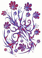 Blue and red flowers by Dessins-Fantastiques