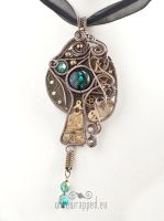 Teal glass eye pendant by ukapala