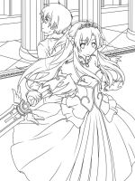 Sword Art Online kirito and asuna wedding lineart by kevin7788516