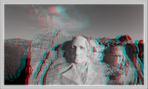 3D anaglyph Mount Rushmore by gogu1234