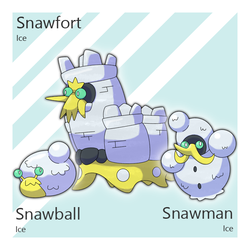 Snawball, Snawman, and Snawfort by Tsunfished
