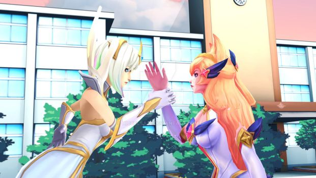[MMD] Elementalist Lux vs SG Ahri by HiccElsa32