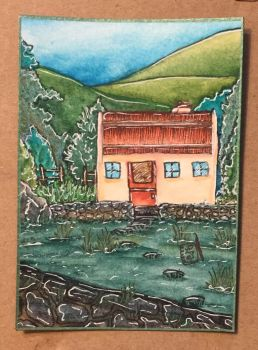 Irish Cottage with landscape by ParadoxSketchbook